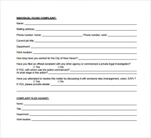 employee complaint form new employee complaint form