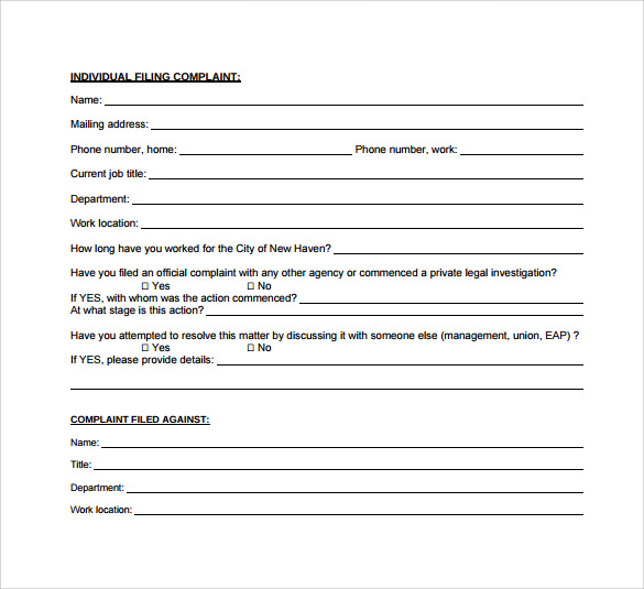 Employee Complaint Form  Template Business