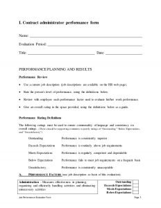 employee contract template contract administrator performance appraisal