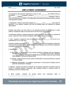 employee contract template employment agreement form template