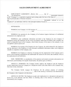 employee contract template sales employment agreement example