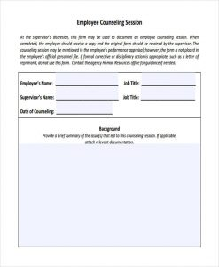 employee counseling form employee counseling session form