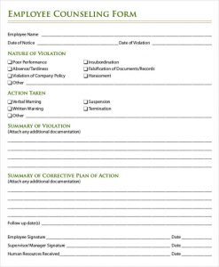employee counseling form employee counseling write up form