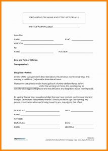 employee disciplinary action form written warning template written warning template cyberuse pertaining to written warning template