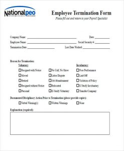 employee disciplinary write up form employee termination notice form