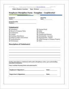 employee discipline form discipline template form of employee
