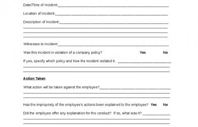 employee discipline form employee disciplinary action form