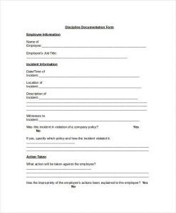 employee discipline form employee discipline documentation form