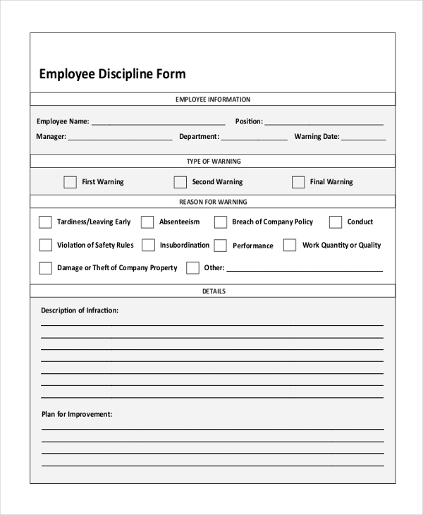 free employee disciplinary forms