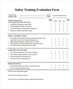 employee evaluation form pdf safety training session evaluation form
