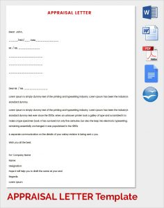 employee evaluation sample sample letter of appraisal
