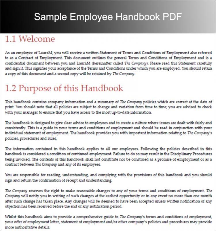 Employee handbook examples template business for Company handbook template free