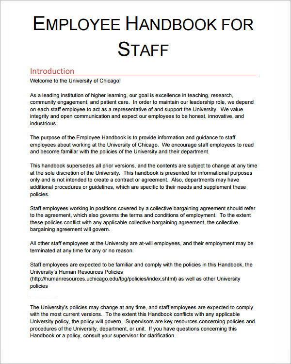 Employee handbook sample template business for Personnel manual template
