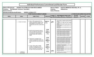employee improvement plan sample ipcrf rpms hush final rechecked