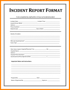 employee incident report employee incident report form template