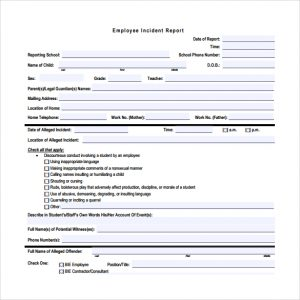 employee incident report employee incident report free download