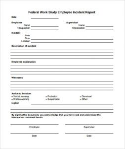employee incident report sample pdf employee incident report template to download