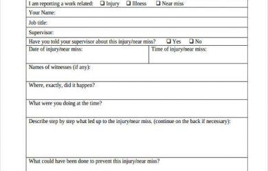 employee injury report employee injury incident report