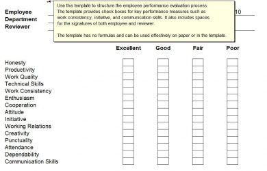 employee performance review template employee performance review