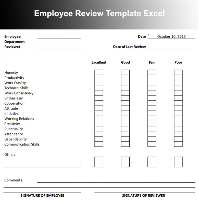 Employee performance review template template business for Employee performance reviews templates