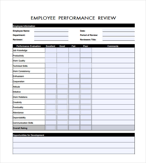 Employee Performance Review Template  Template Business