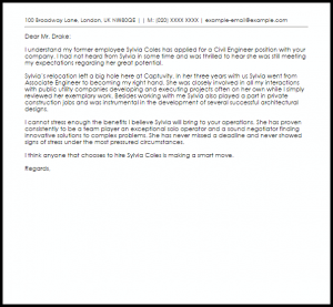 employee recommendation letter civil engineer recommendation letter
