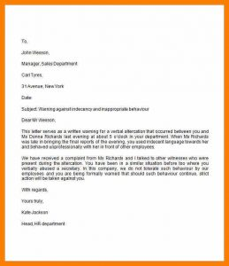 employee recommendation letter sample warning letter to employee