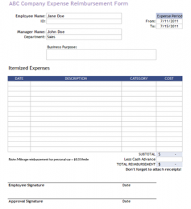 employee reimbursement form company reimbursement template