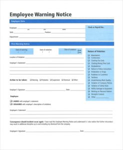 Soft image for free printable employee warning notice
