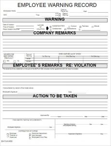 Employee reprimand form template business employee reprimand form employee warning record form template altavistaventures Image collections