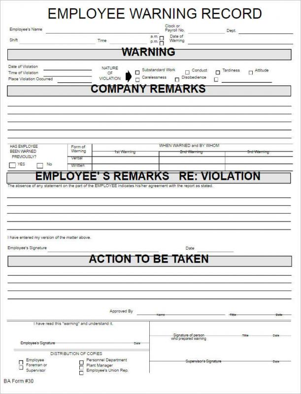 Employee Reprimand Form  Template Business