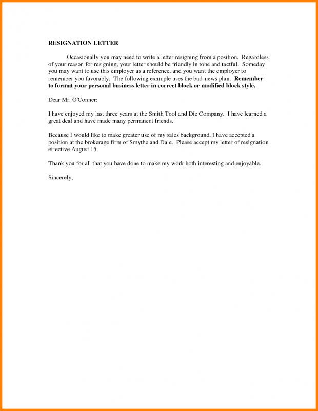 example of resignation letter due to personal reasons employee resign letter template business 21579 | employee resign letter how to write a friendly resignation letter 1
