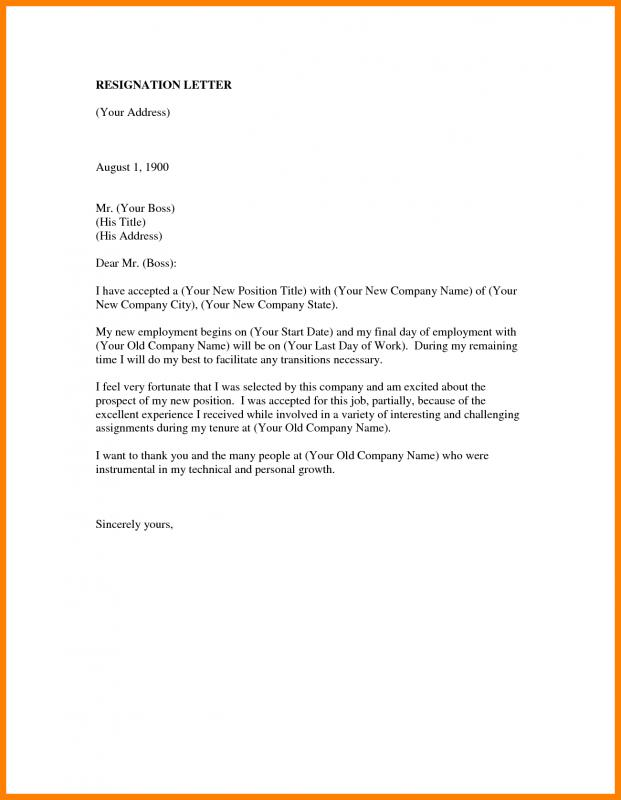 job resignation letter employee resign letter template business 22648