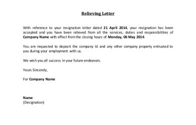 employee resignation letter relieving letter fill