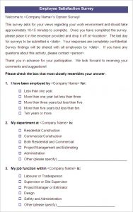 employee satisfaction survey employee satisfaction survey template example