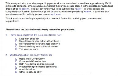 employee satisfaction survey employee satisfaction survey template word