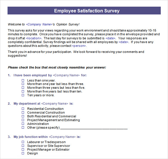 Employee Satisfaction Survey  Template Business