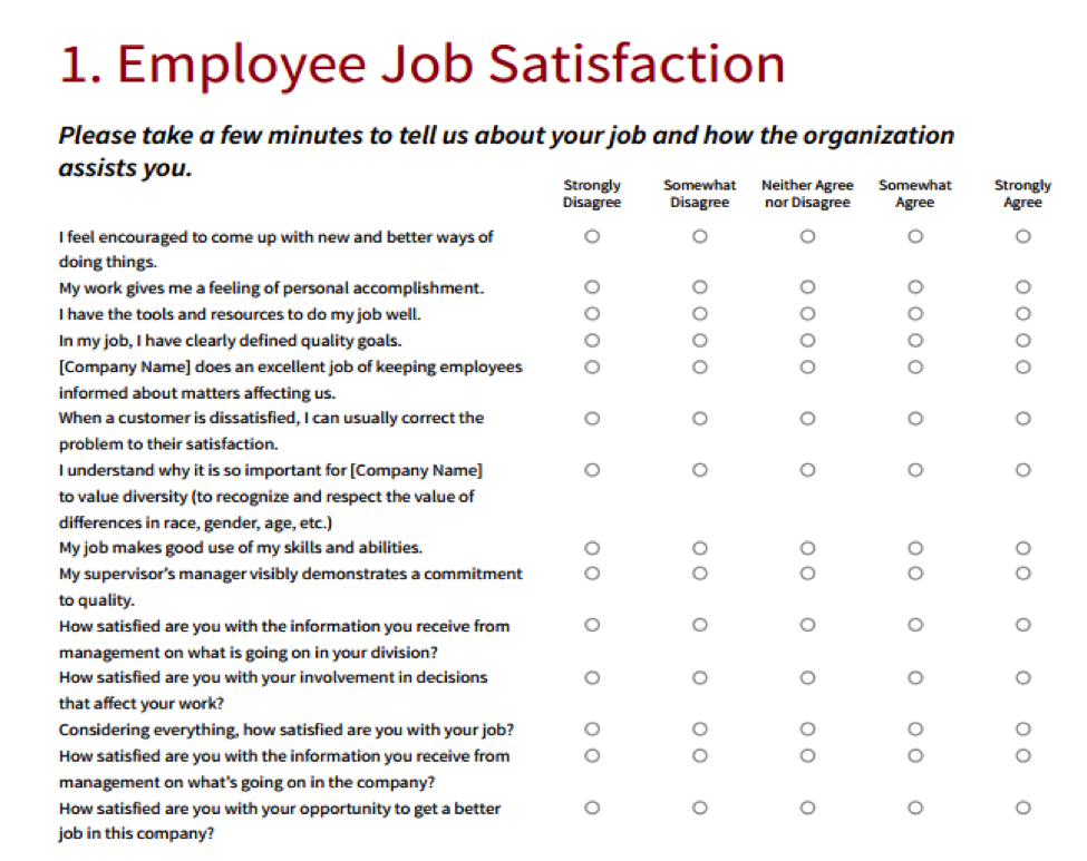 Employee satisfaction survey template business for Employee satisfaction survey template word