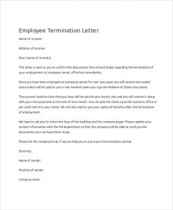 employee termination letter employee termination letter