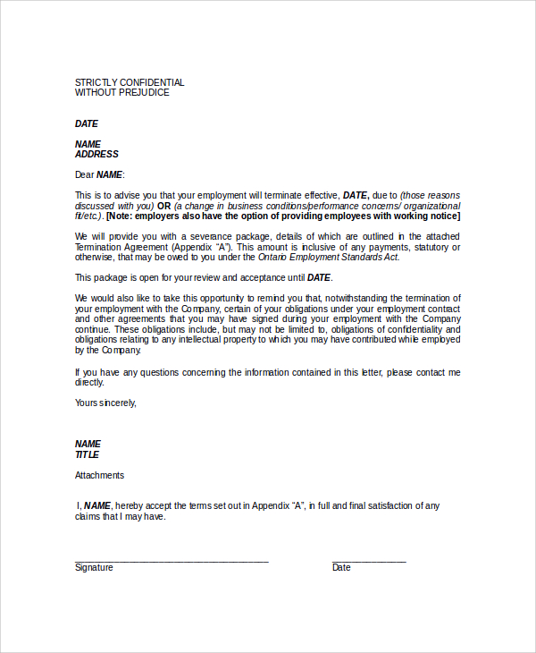 Employee Termination Letter  Template Business