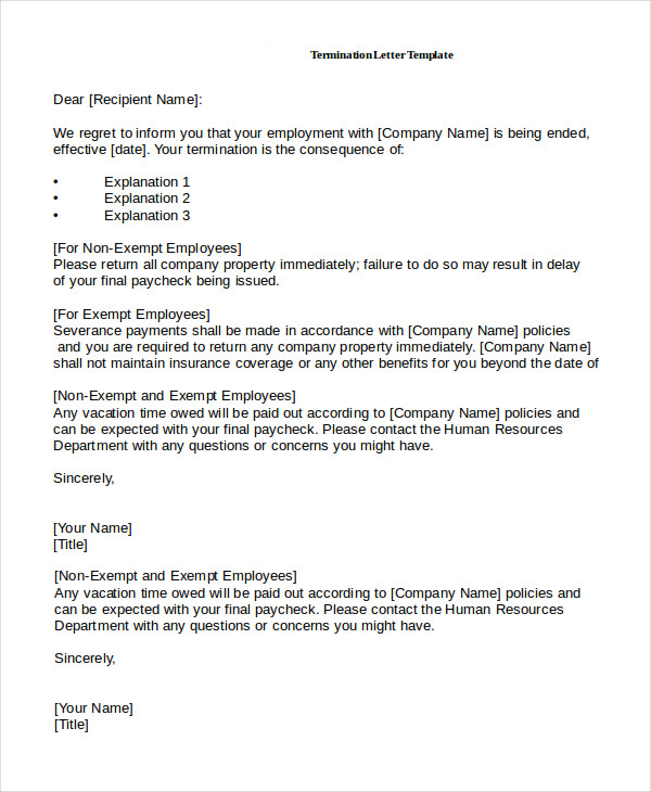 Employee Termination Letter | Template Business