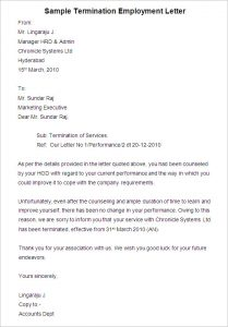 employee termination letter sample termination employment letter