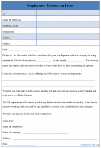 employee termination template employment termination letter form