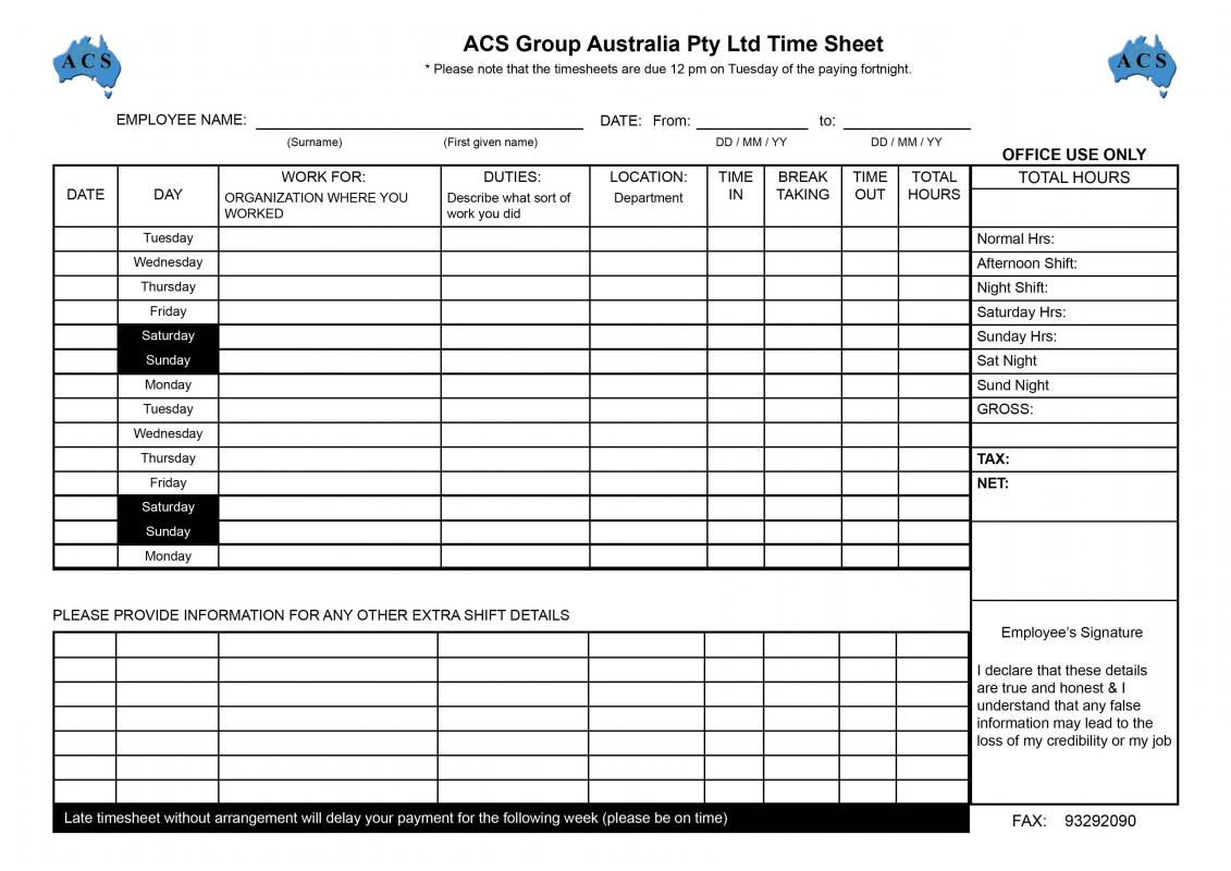 template for time sheet