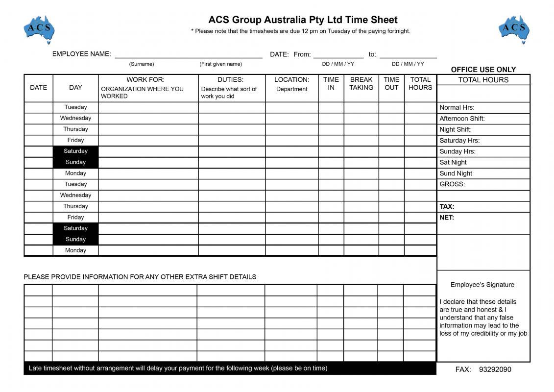 employee hours log sheet