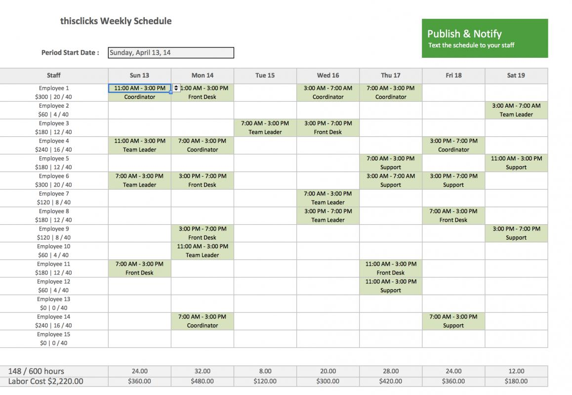 example of training schedule
