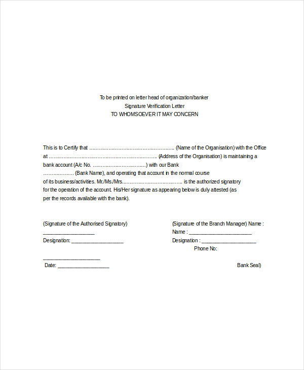Employee Verification Letter  Template Business
