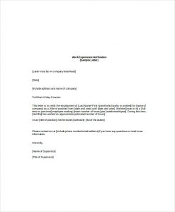 employee verification letter employee work verification letter