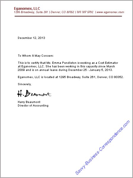 employee verification letter