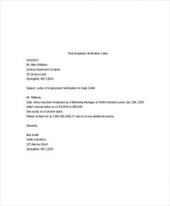 employee verification letter past employee verification letter template